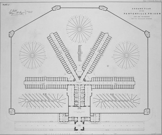 Plan of Pentonville Prison, which opened in 1842 (© British Library)